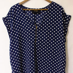 Wishful Top Navy Blue White Polka dots Size 1X